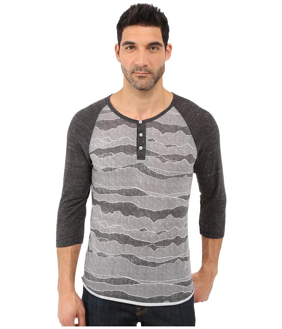 Alternative Printed 3/4 Raglan Henley Black Ridge/Eco Black Mens T Shirt