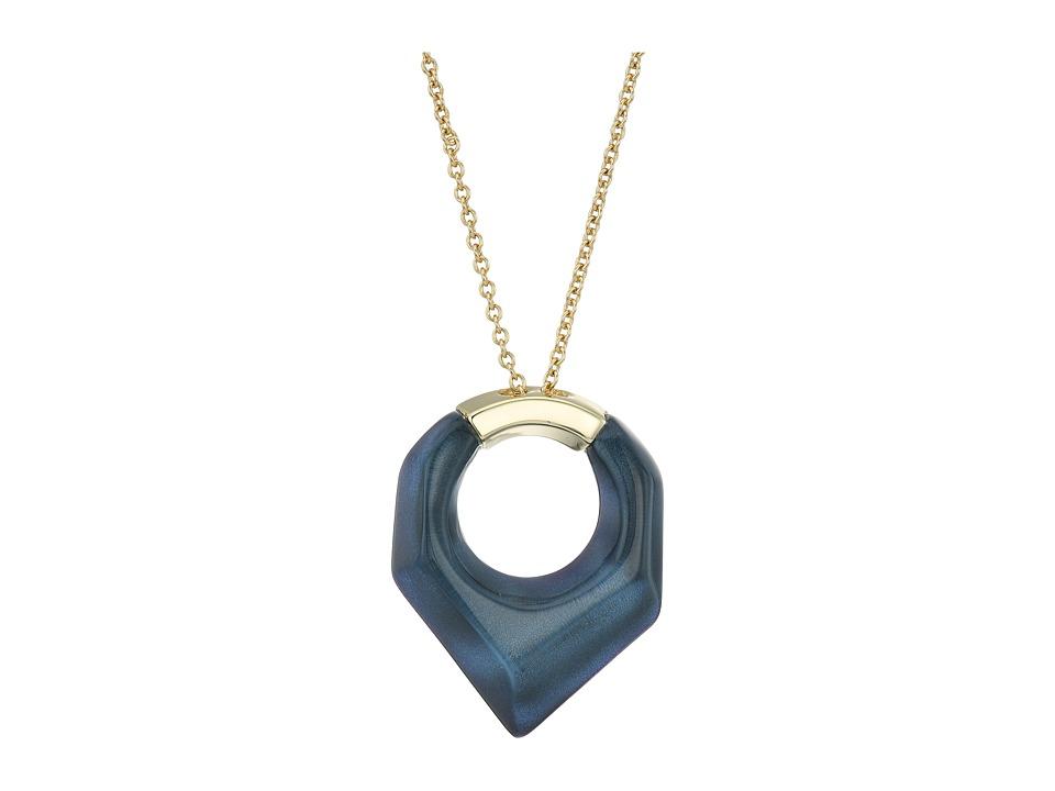 Alexis Bittar Faceted Pentagon Pendant Necklace (Blue Vel...