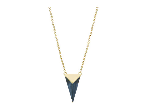 Alexis Bittar Faceted Pyramid Pendant Necklace - Blue Velvet