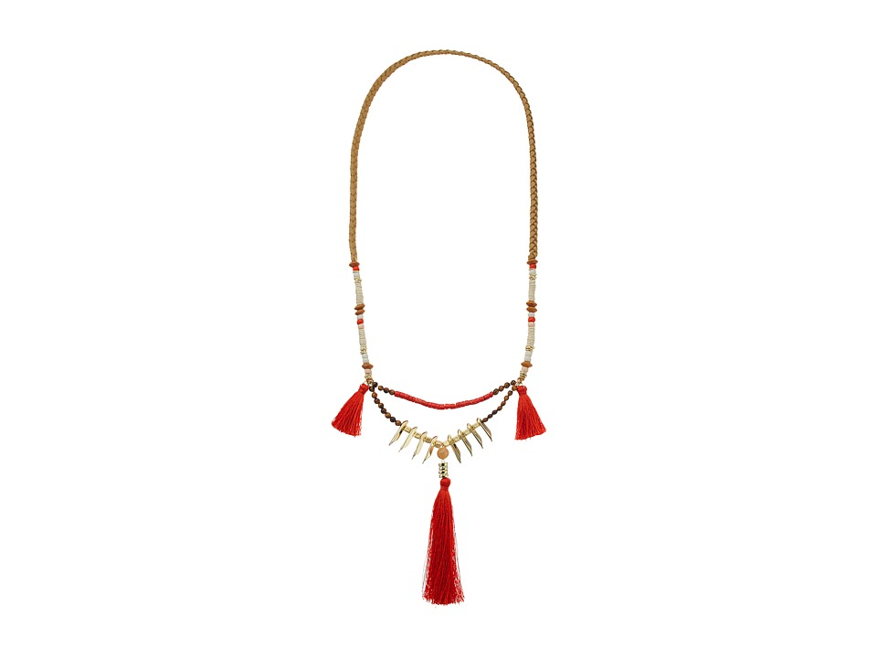 French Connection Triple Tassel Pendant Necklace Gold/Red/Orange Necklace