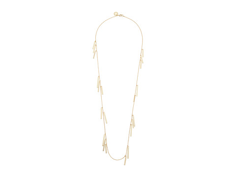 French Connection Rectangle Bar Fringe Illusion Necklace - Gold