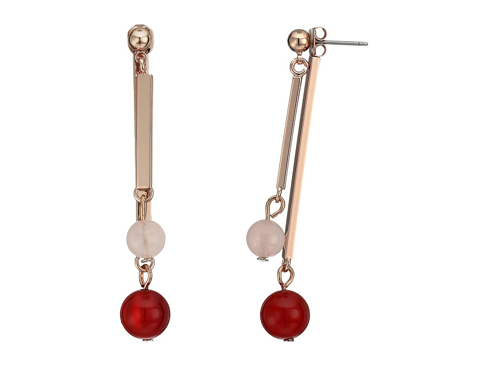 French Connection - Linear Rectangle Bar and Bead Front/Back Earrings (Rose Gold/Light Rose Quartz/Carnelian) Earring