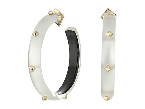 Alexis Bittar Gold Studded Hoop Earrings - Silver