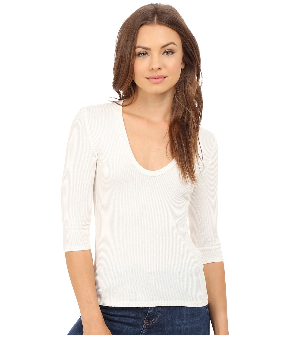 Project Social T 3/4 Sleeve Retro Scoop Top Ivory Womens T Shirt