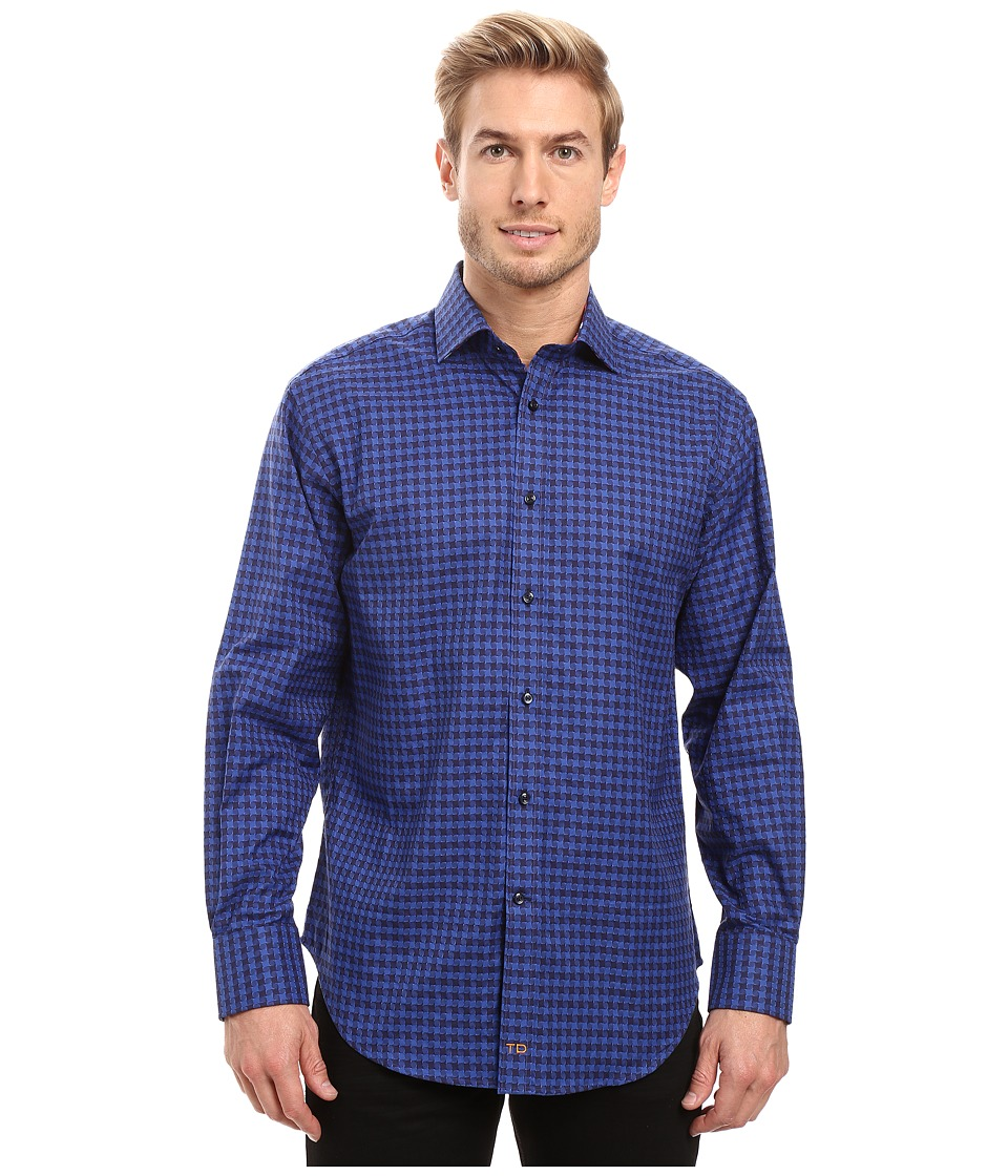 Thomas Dean & Co. - Long Sleeve Woven Jacquard Check