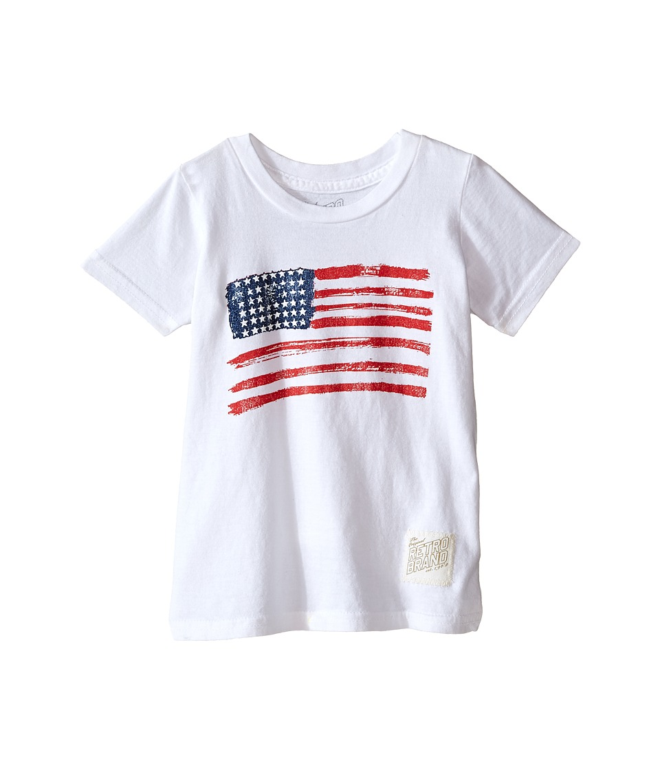 The Original Retro Brand Kids Vintage Cotton Short Sleeve American Flag Tee Toddler White Boys T Shirt