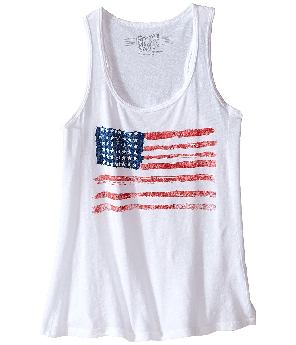 The Original Retro Brand Kids Cotton Racerback Flag Tank Top Little Kids/Big Kids White Girls Sleeveless