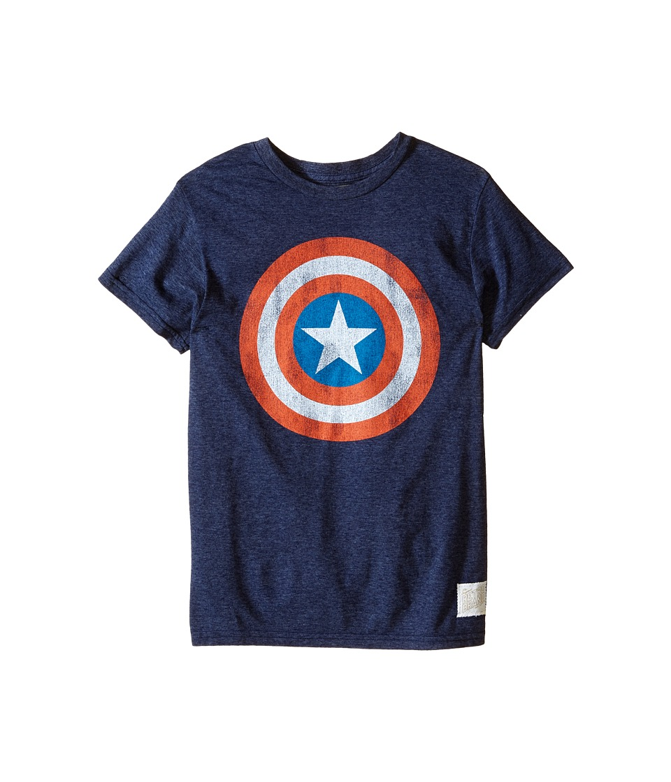 The Original Retro Brand Kids Captain America Tri Blend Tee Little Kids/Big Kids Streaky Navy Boys T Shirt