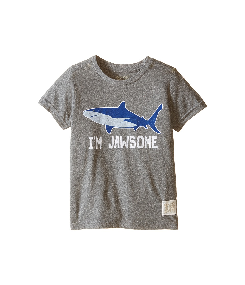 The Original Retro Brand Kids - Im Jawsome Shark Short Sleeve Tri-Blend Tee (Little Kids/Big Kids) (Streaky Grey) Boys T Shirt