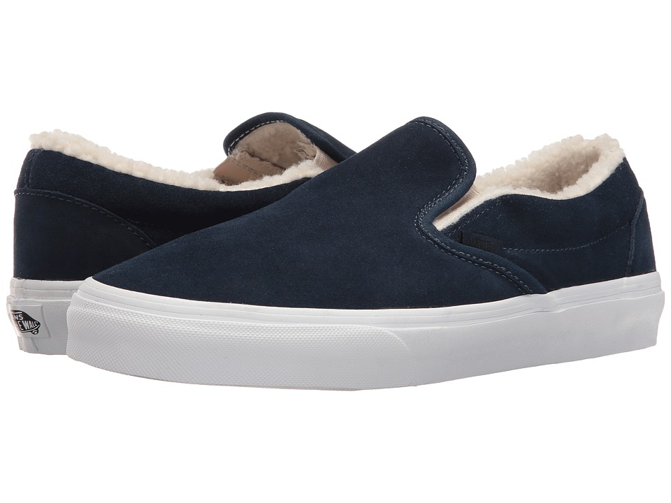 Vans Classic Slip-On ((Suede/Fleece) Dress Blues/True White) Skate Shoes