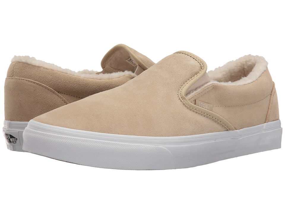 Vans Classic Slip-On ((Suede/Fleece) Pale Khaki/True White) Skate Shoes