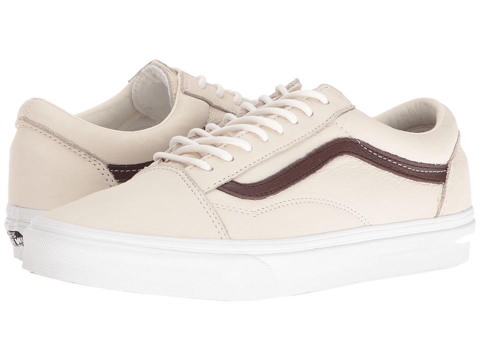 Vans Old Skool ((Leather) Blanc De Blanc/Potting Soil) Skate Shoes