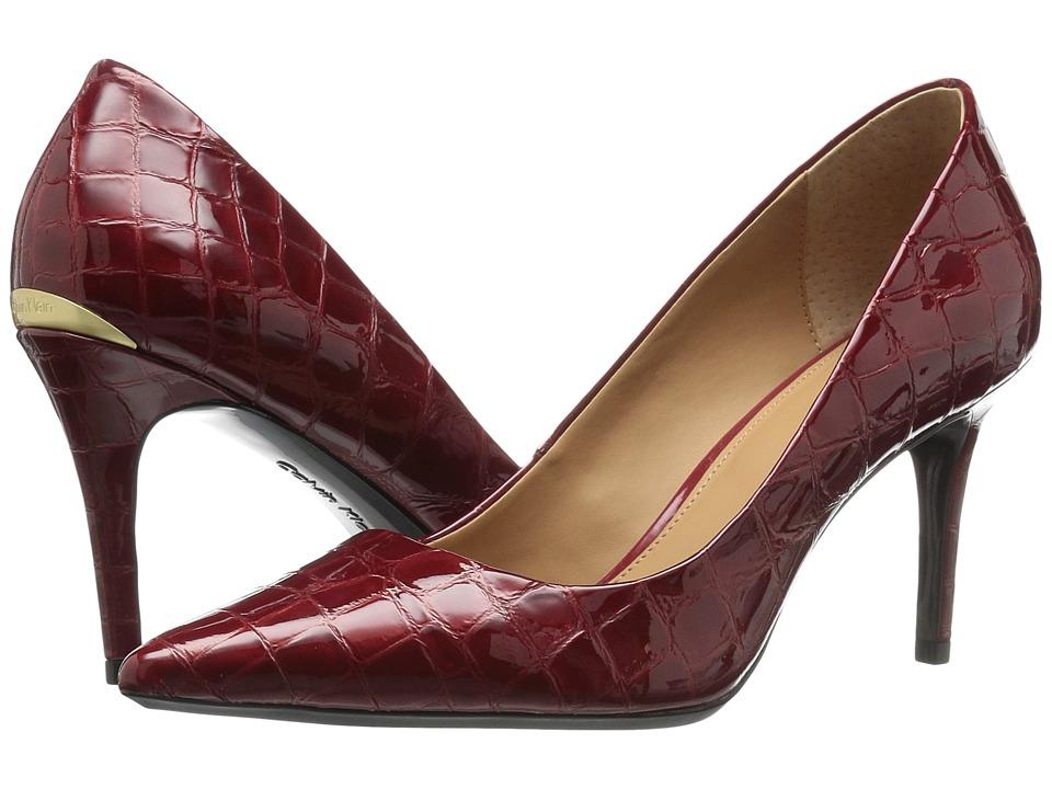 Calvin Klein Gayle (Garnet Croco Print Patent) High Heels
