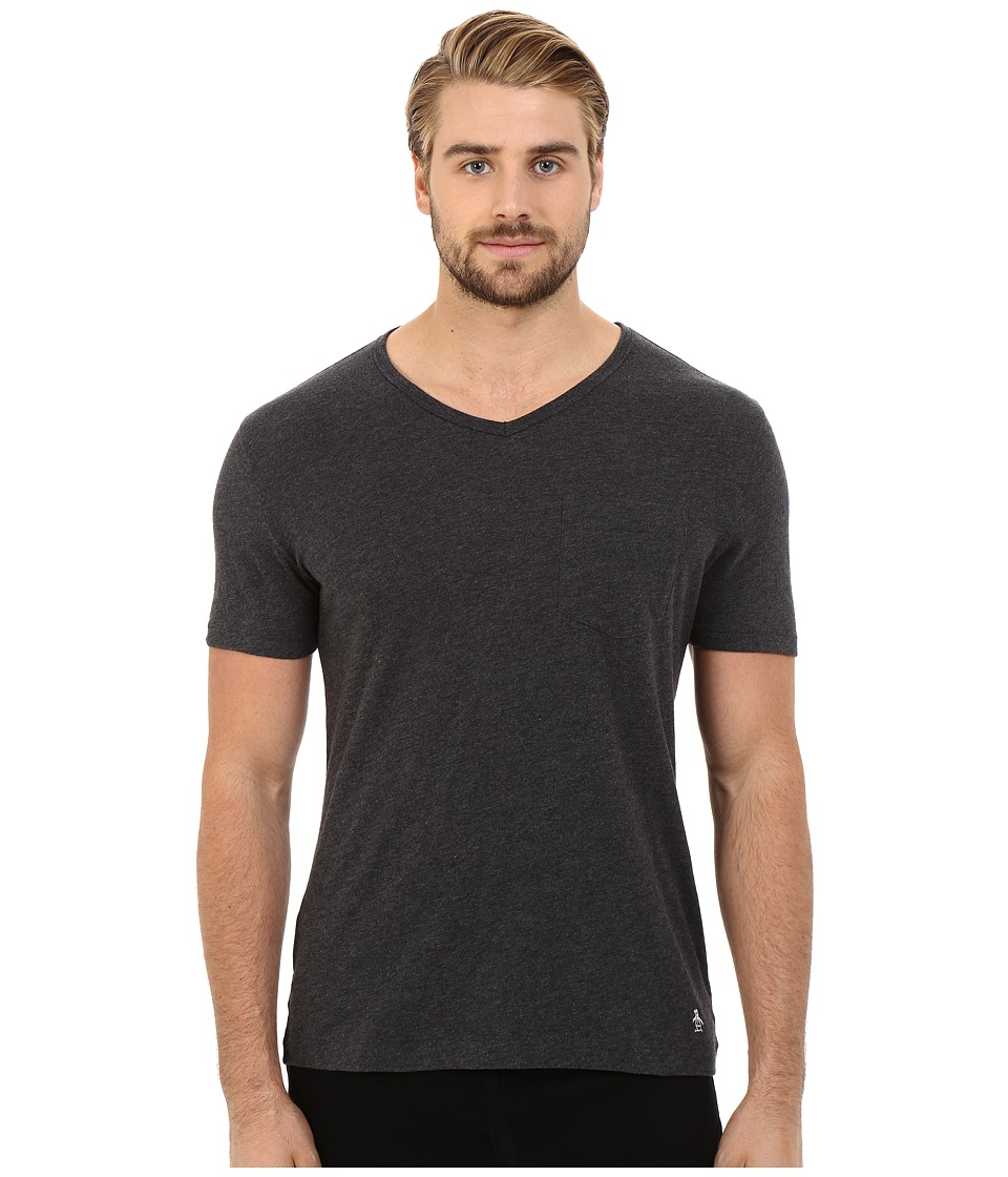 Original Penguin Bing V Neck Dark Charcoal Mens T Shirt