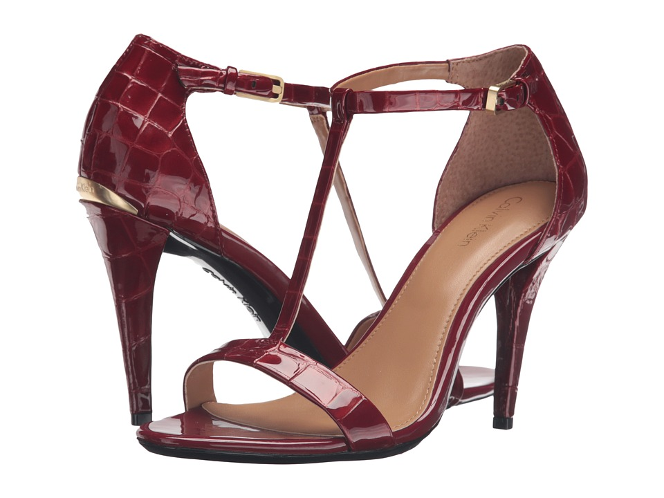 Calvin Klein Nasi (Garnet Croco Print Patent) High Heels
