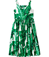 Dolce & Gabbana Kids - Botanical Garden Banana Leaf Sleeveless Dress (Big Kids)
