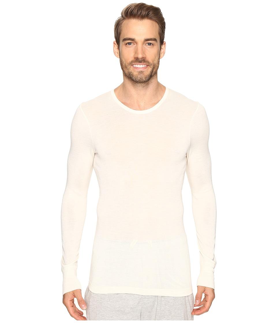 Hanro - Woolen Silk Long Sleeve Shirt (Cygne) Mens Clothing