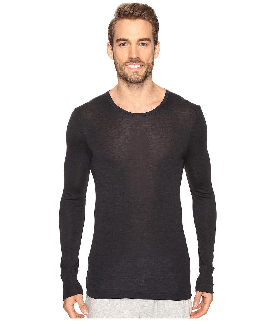 Hanro Woolen Silk Long Sleeve Shirt (Anthracite) Men's Cl...