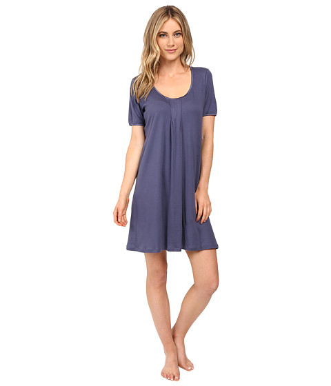 Hanro Alessia Short Sleeve Gown - Cosy Blue