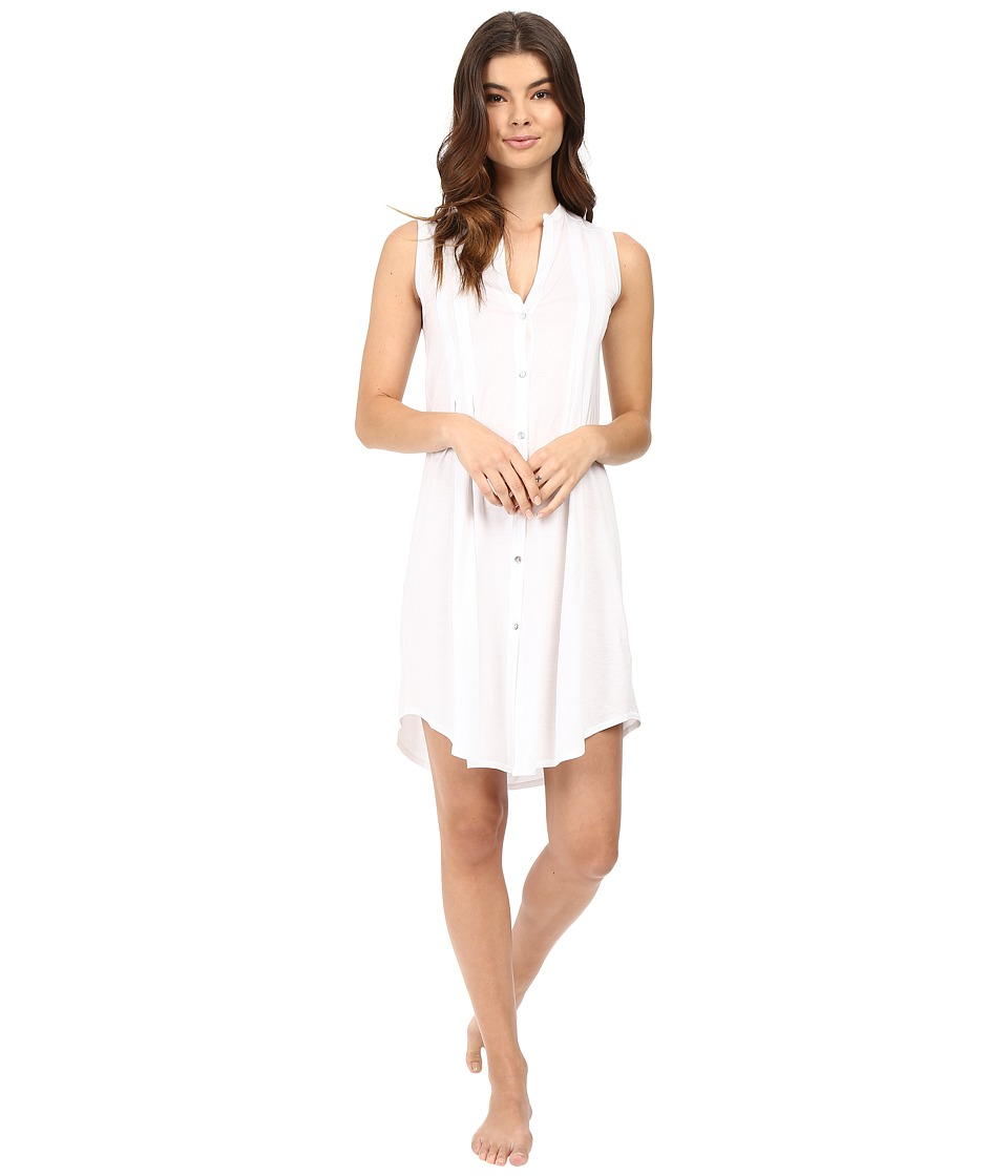 Hanro Cotton Deluxe Button Front Tank Nightgown (White) Women