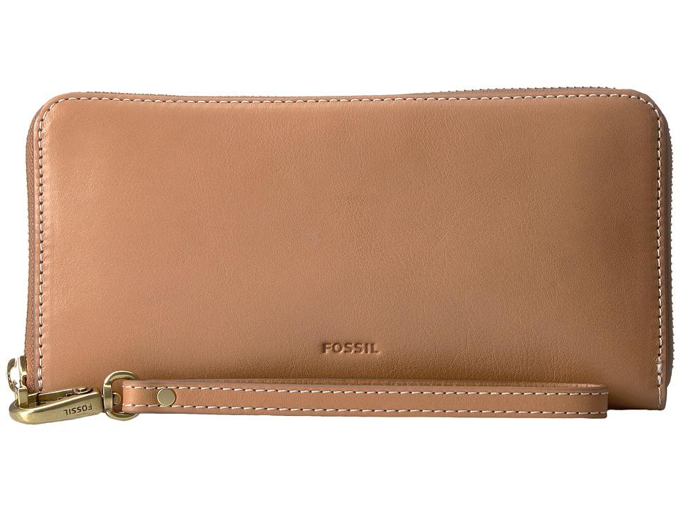 Fossil - Emma Large Zip Clutch RFID (Tan) Clutch Handbags