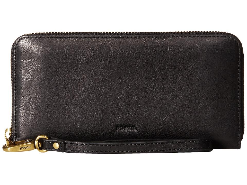 Fossil - Emma Large Zip Clutch RFID (Black) Clutch Handbags