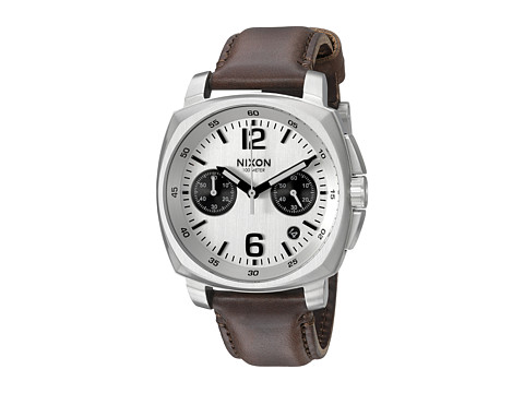 Nixon Charger Chrono Leather - Silver/Brown