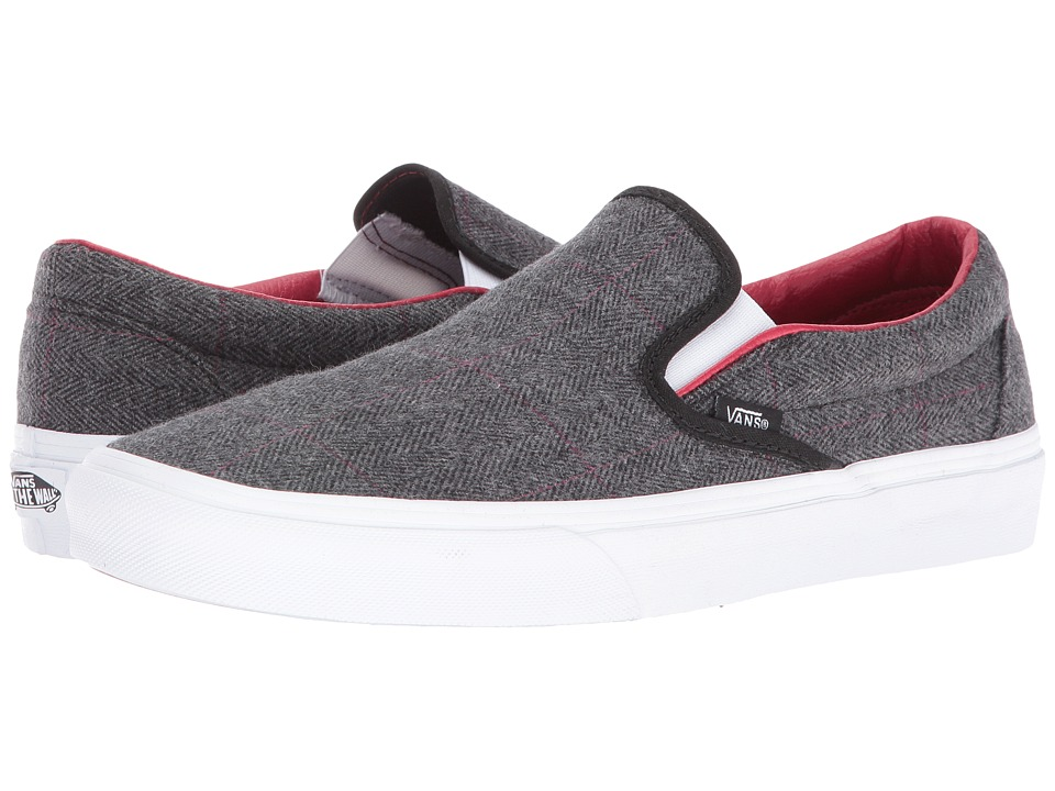 Vans Classic Slip-On ((Tweed) Black/True White) Skate Shoes