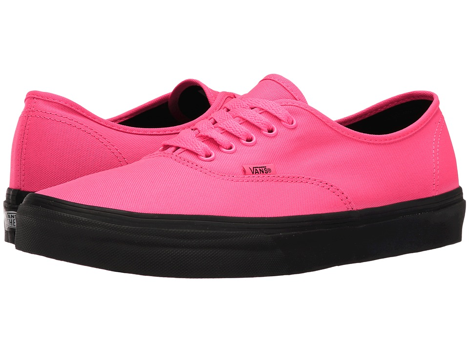 Vans Authentic ((Black Outsole) Neon Pink/Black) Skate Shoes