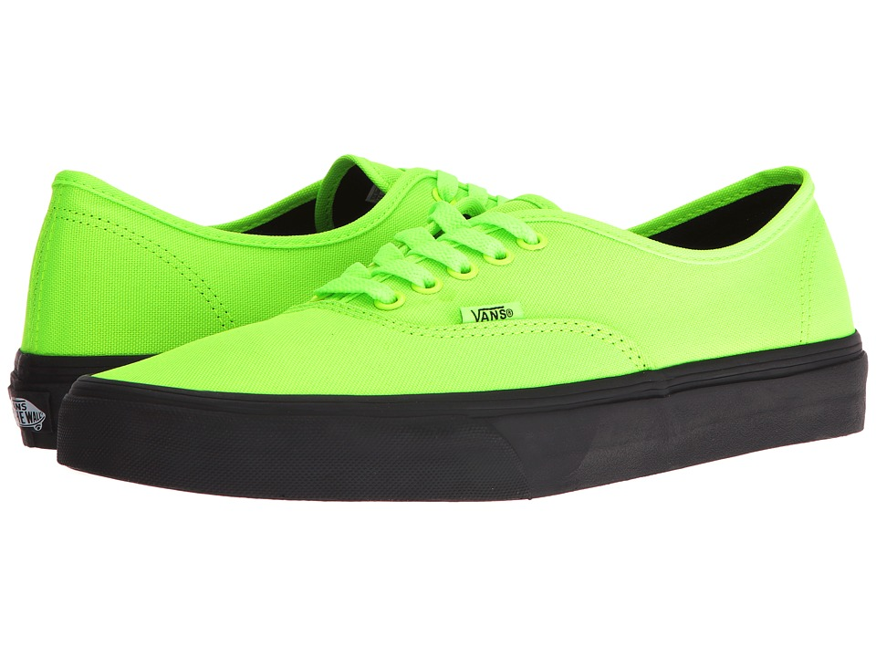 Vans Authentic ((Black Outsole) Neon Green/Black) Skate Shoes