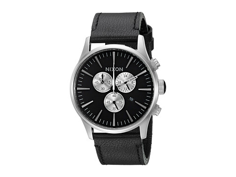 Nixon Sentry Chrono Leather - Black