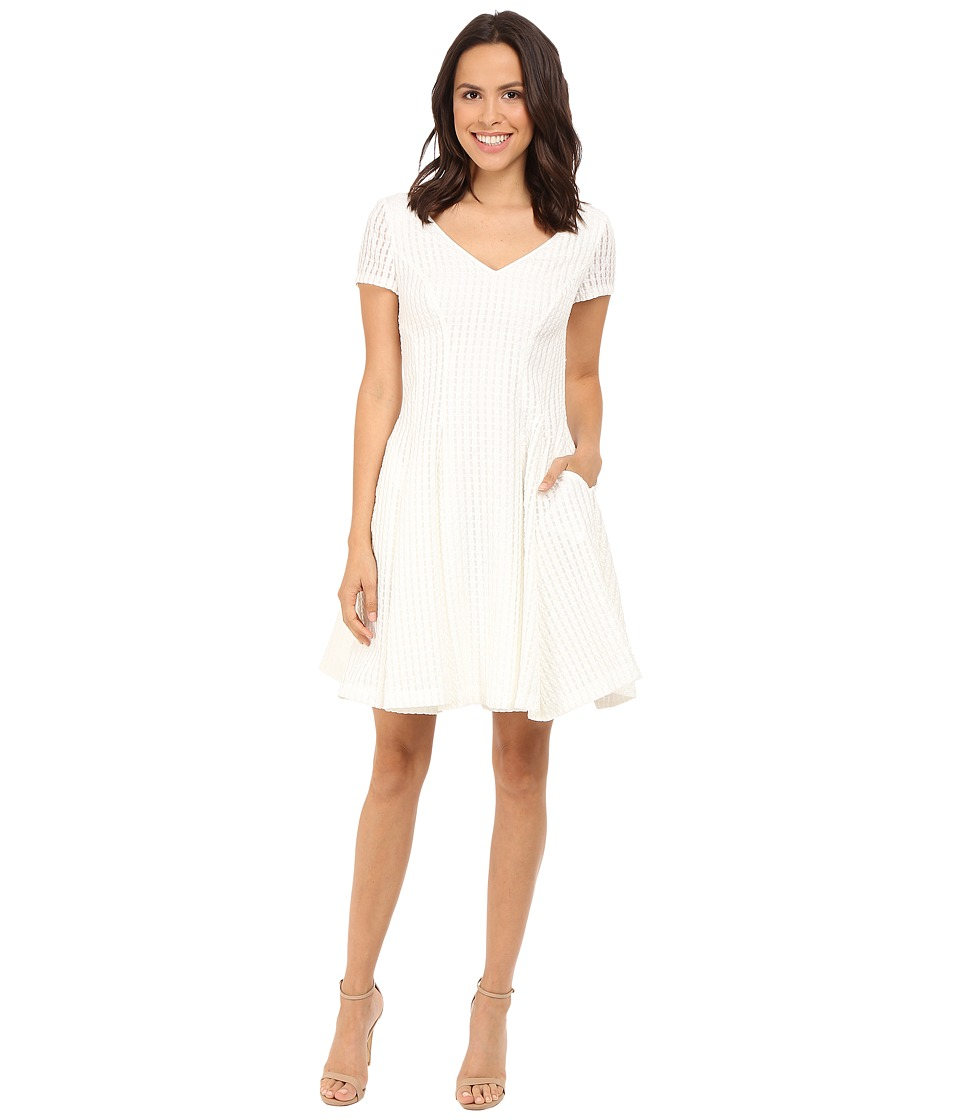 NUE by Shani Fit Flare V Neck Novelty Woven Dress White Womens Dress