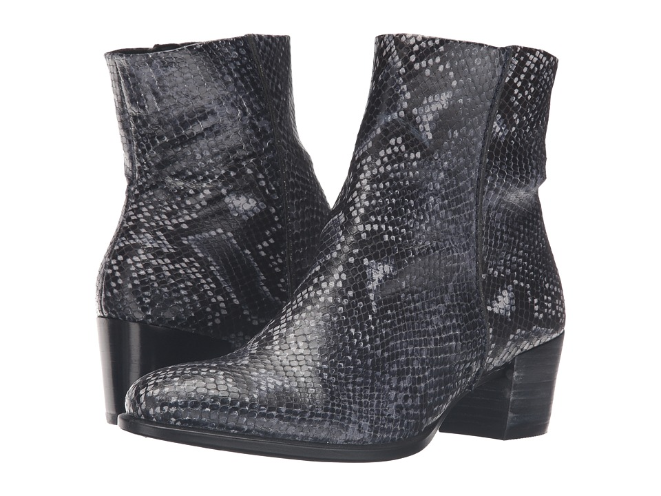 ECCO Shape 35 Snake Print Ankle Boot (True Navy) Women