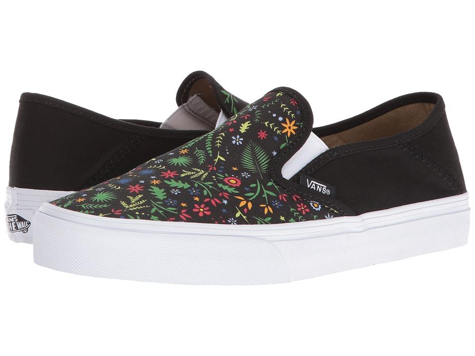 Vans - Slip-On SF ((Flora) Black) Womens Skate Shoes