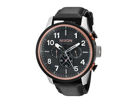 Nixon The Safari Dual Time Leather - Black/Rose Gold