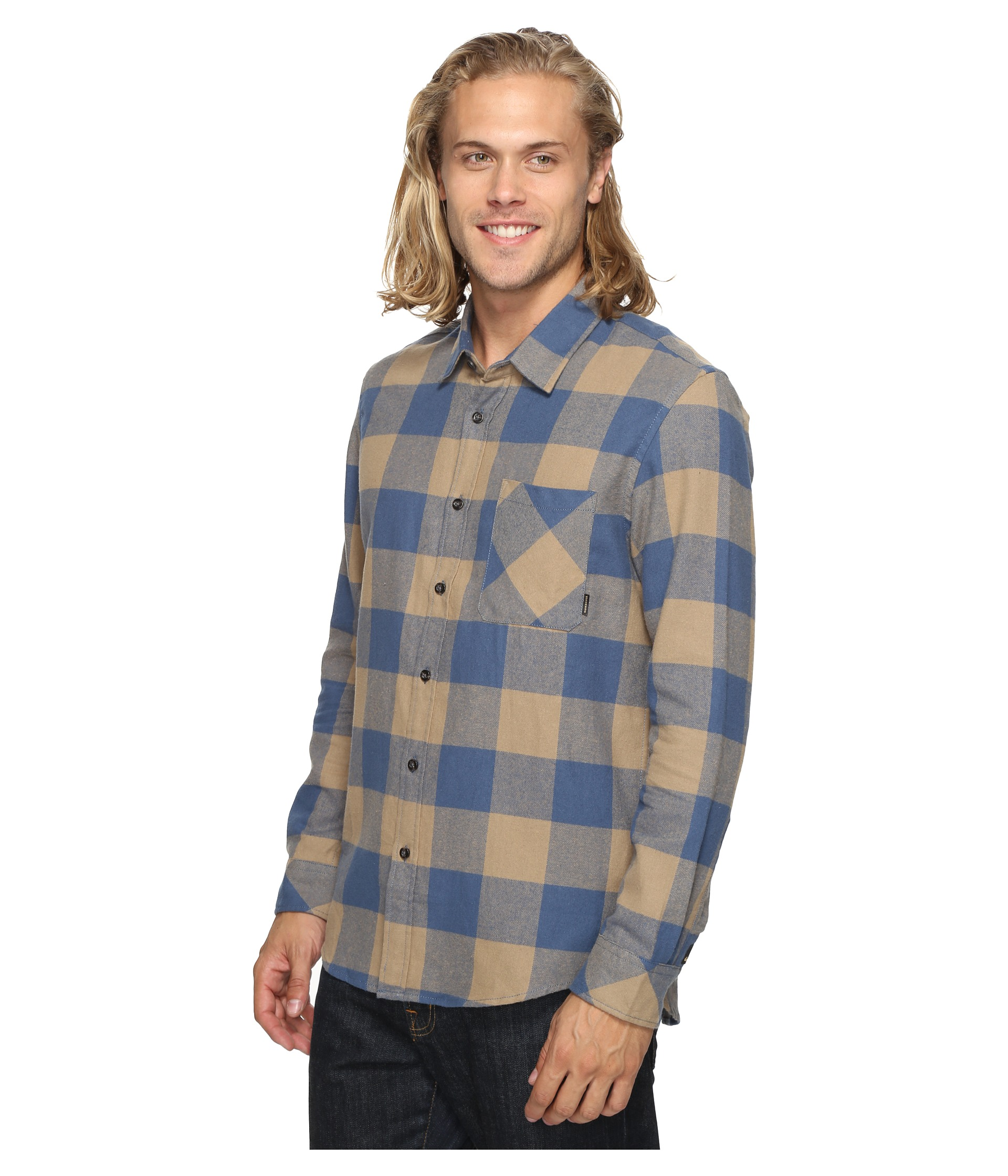 Quiksilver motherfly classic woven button up flannel for Athletic cut flannel shirts