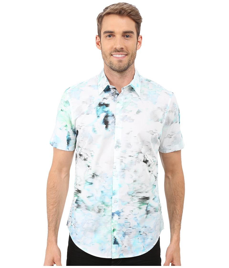 Calvin Klein Short Sleeve Water Print Woven Shirt Patina Green Mens Short Sleeve Button Up