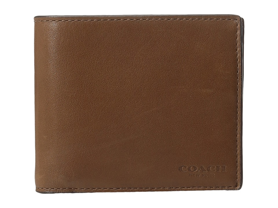 COACH - Sport Calf Compact ID Wallet (Dark Saddle) Wallet Handbags
