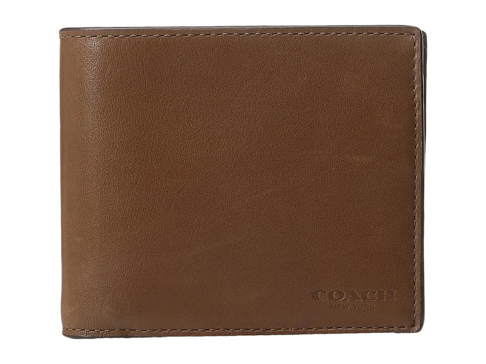 COACH - Sport Calf Compact ID Wallet (Dark Saddle) Wallet Handbags