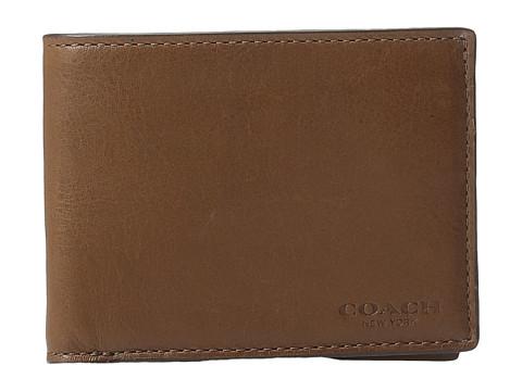 COACH Sport Calf Slim Billfold ID Wallet - Dark Saddle
