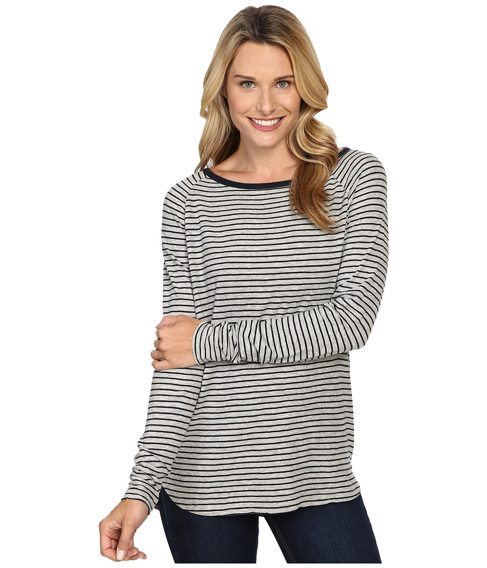 Jag Jeans - Brier Stripe Tee Classic Fit Shirt Striped Jersey (Heather Grey/White) Women