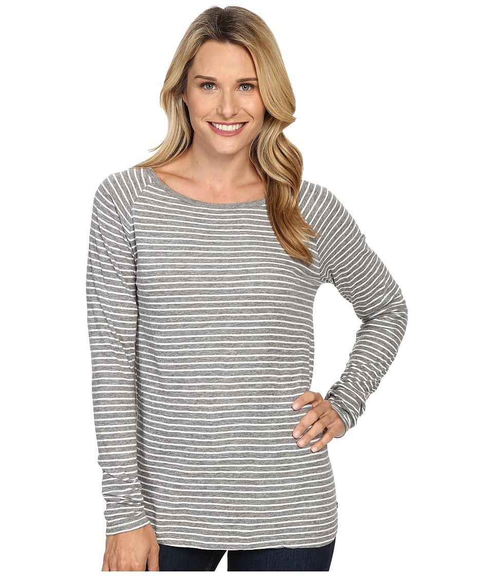Jag Jeans - Brier Stripe Tee Classic Fit Shirt Striped Jersey (Medium Heather Grey/White) Women