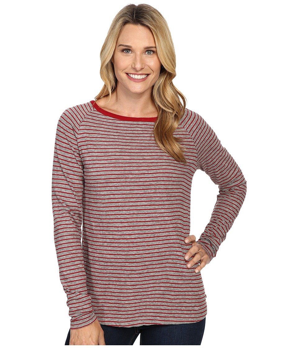 Jag Jeans - Brier Stripe Tee Classic Fit Shirt Striped Jersey (Medium Heather/Rubaiyat) Women