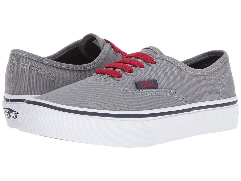 Vans Kids - Authentic (Little Kid/Big Kid) ((Pop) Frost Gray/Racing Red) Boys Shoes