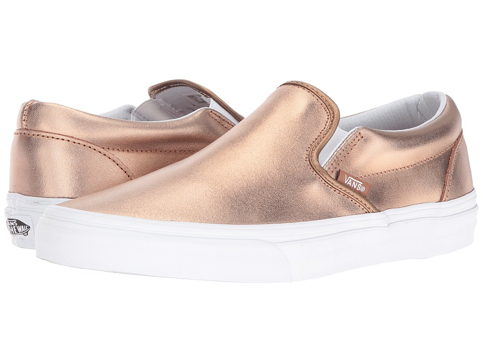 Vans Classic Slip-On ((Metallic) Rose Gold/True White) Skate Shoes