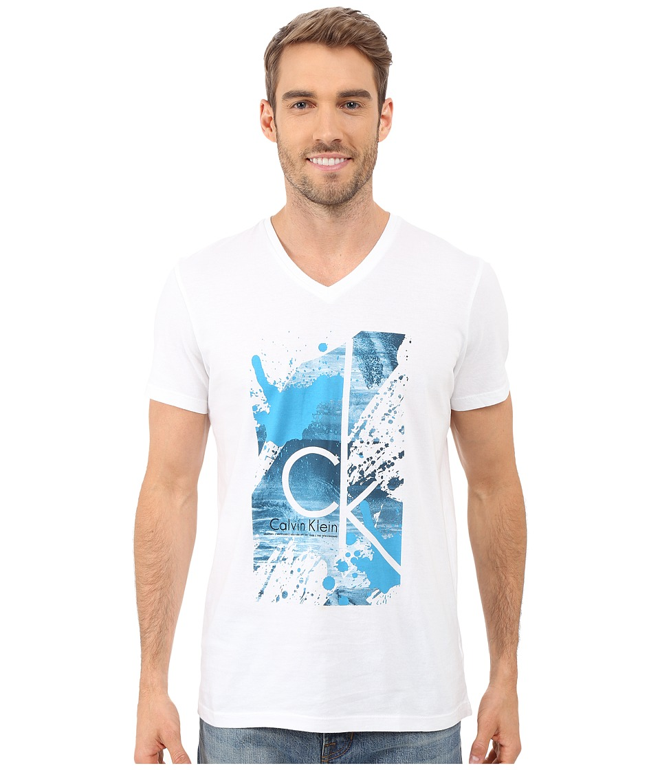 Calvin Klein - Short Sleeve CK Splatter Paint Tee (White) Men