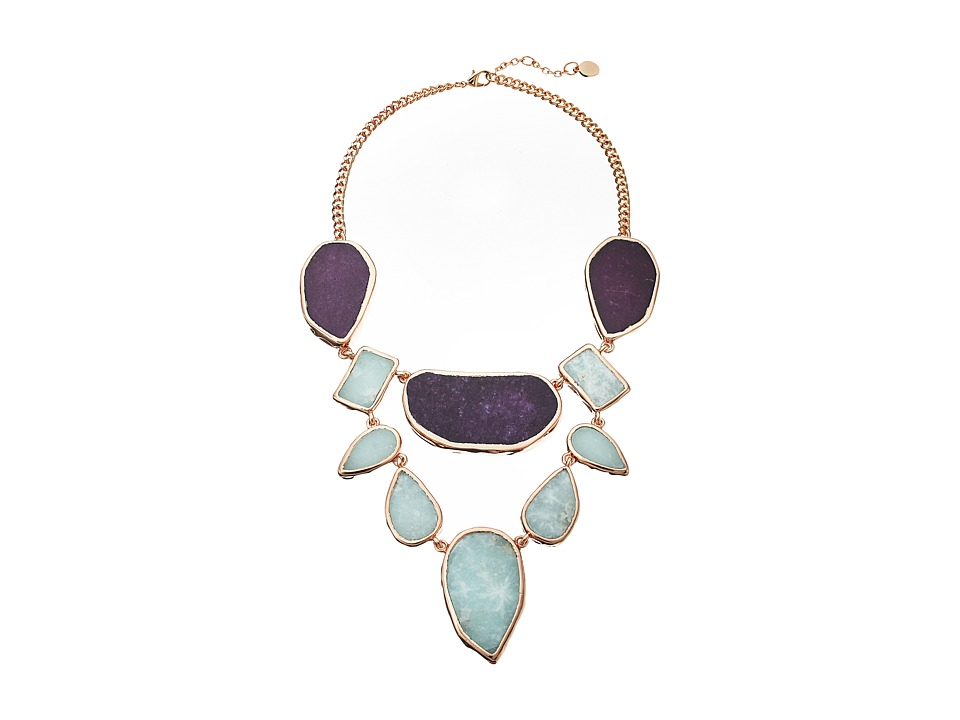 Vince Camuto - Short Drama Necklace (Burnt Rose Gold/Berry/Blue) Necklace