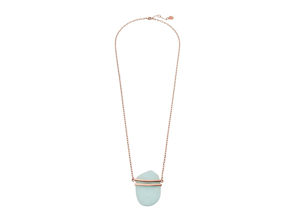 Vince Camuto - 32 Long Pendant Necklace with Metal Cage (Burnt Rose Gold/Blue) Necklace