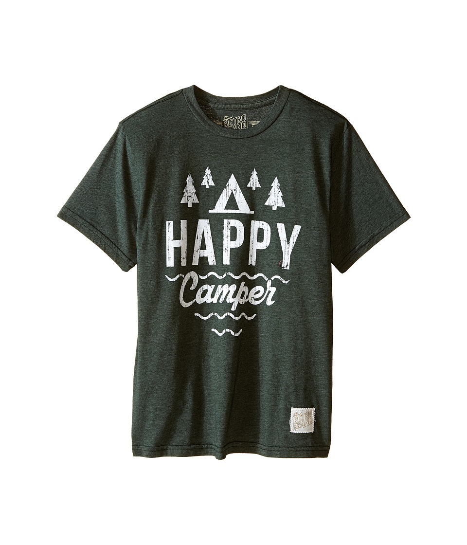 The Original Retro Brand Kids - Happy Camper Short Sleeve Tee (Little Kids/Big Kids) (Heather Forest) Boys T Shirt