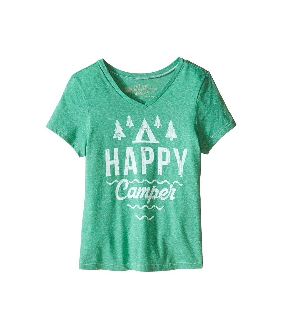 The Original Retro Brand Kids - Happy Camper Short Sleeve V-Neck Tee (Little Kids/Big Kids) (Streaky Sprite) Girls T Shirt